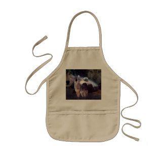 Wolf in the moon howling at the earth kids' apron