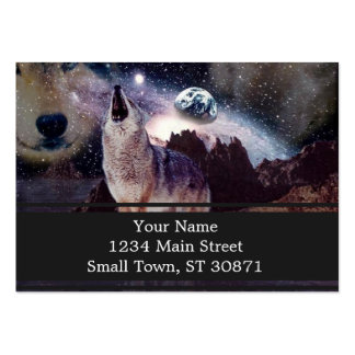Wolf in the moon howling at the earth large business card