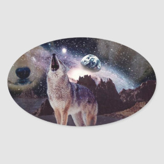 Wolf in the moon howling at the earth oval sticker