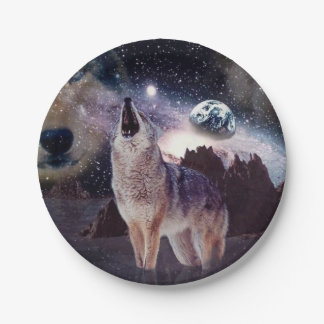Wolf in the moon howling at the earth paper plate