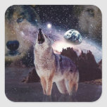 Wolf in the moon howling at the earth square sticker