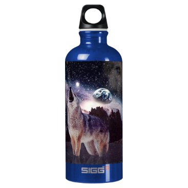 Halloween Themed Wolf in the moon howling at the earth water bottle