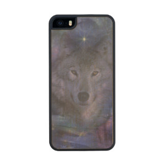 Wolf in the Moonlight Carved® Maple iPhone 5 Slim Case