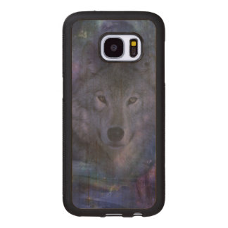 Wolf in the Moonlight Wood Samsung Galaxy S7 Case