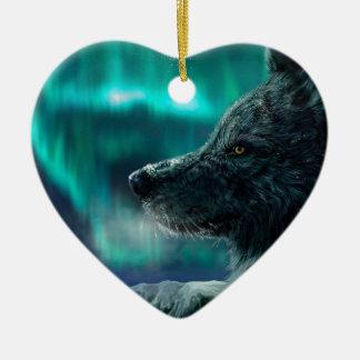 Wolf in the Night Ceramic Ornament