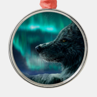 Wolf in the Night Metal Ornament