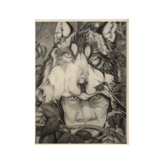 Wolf in the shadows wood poster
