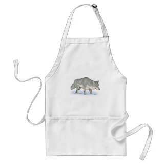 wolf in the snow adult apron