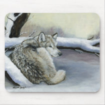 Wolf in the Snow Art mouse Pad