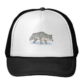 wolf in the snow trucker hat
