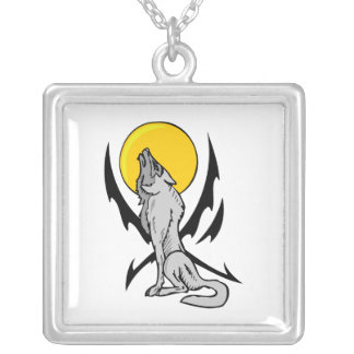 Wolf In The Wild Square Pendant Necklace