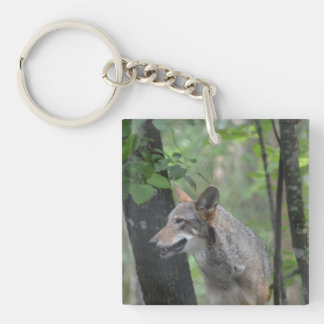 Wolf in the Wilderness Single-Sided Square Acrylic Keychain