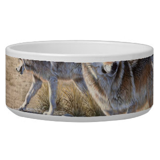 Wolf in winter forest bowl