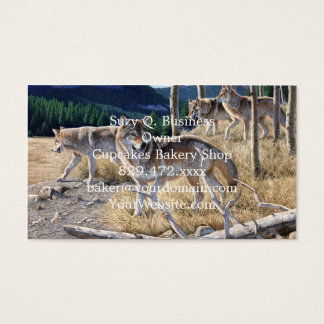 Wolf in winter forest business card