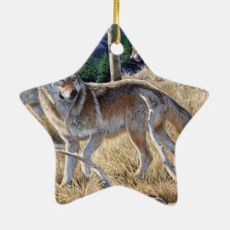 Wolf in winter forest ceramic ornament