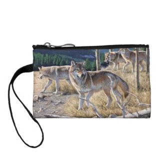 Wolf in winter forest change purse
