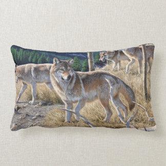 Wolf in winter forest lumbar pillow