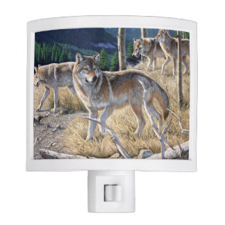 Wolf in winter forest night light