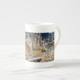 Wolf in winter forest tea cup