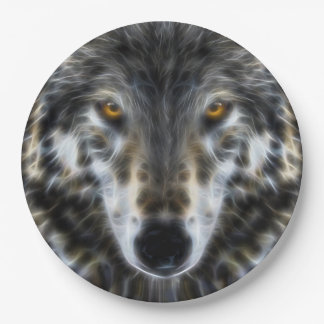 Wolf Inspirational design Portrait Paper Plate