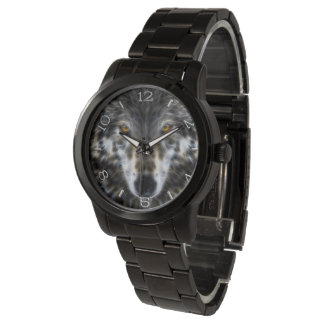 Wolf Inspirational graphic Portrait Dial Wrist Watch