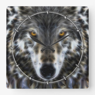 Wolf Inspirational graphic Portrait Square Wall Clock