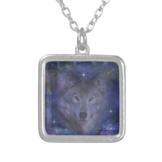 Wolf - Leader of the Pack Square Pendant Necklace
