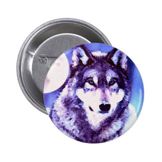 Wolf Look - Lonely Wolf Pinback Buttons