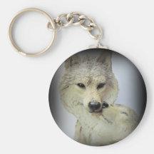 Wolf Love Basic Round Button Keychain