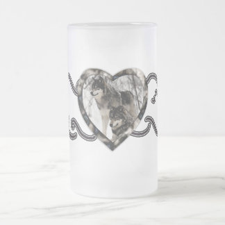 Wolf Lover Frosted Glass Beer Mug