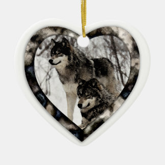 Wolf Lover Double-Sided Heart Ceramic Christmas Ornament