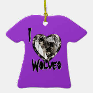Wolf Lover Double-Sided T-Shirt Ceramic Christmas Ornament