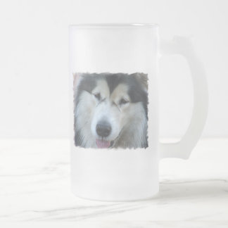 Wolf Malamute Picture Frosted Beer Mug