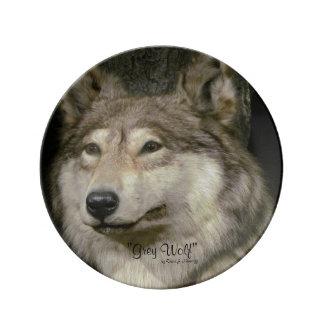 Wolf Porcelain Plates