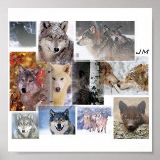 wolf montage print