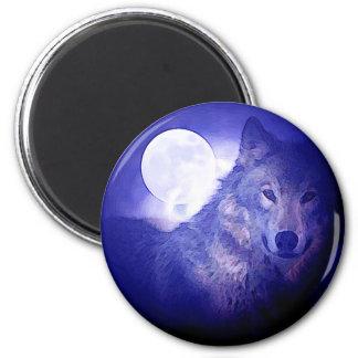 Wolf & Moon 2 Inch Round Magnet