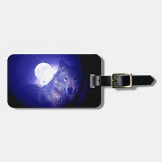 Wolf, Moon & Blue Night Bag Tag