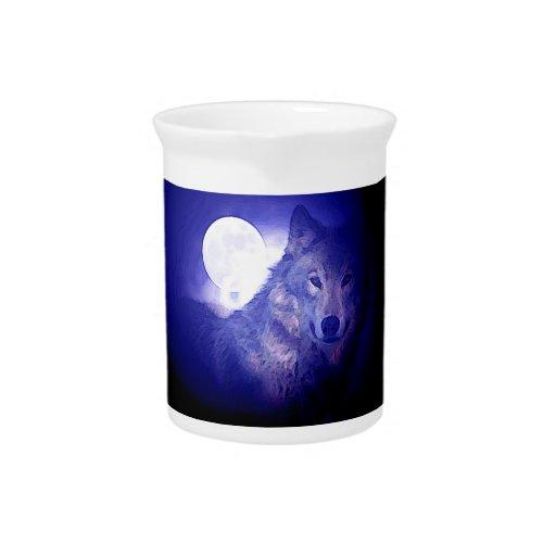 Wolf, Moon & Blue Night Beverage Pitcher