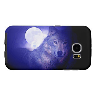 Wolf, Moon & Blue Night Samsung Galaxy S6 Cases