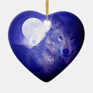 Wolf, Moon & Blue Night Ceramic Ornament
