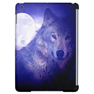 Wolf, Moon & Blue Night Cover For iPad Air