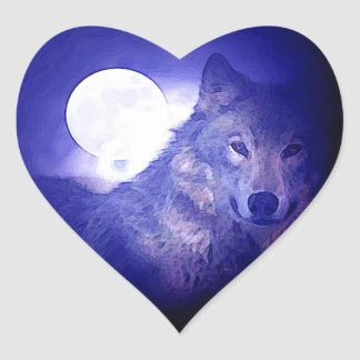 Wolf, Moon & Blue Night Heart Sticker