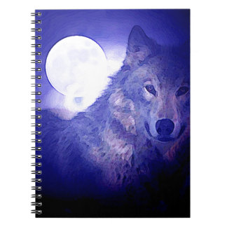 Wolf, Moon & Blue Night Notebook