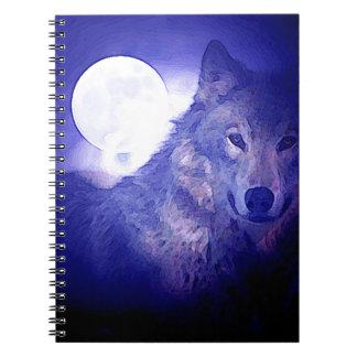 Wolf, Moon & Blue Night Spiral Notebook