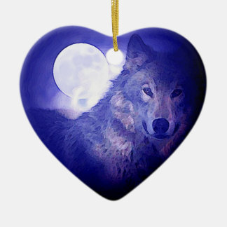 Wolf, Moon & Blue Night Double-Sided Heart Ceramic Christmas Ornament