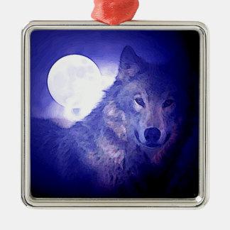 Wolf, Moon & Blue Night Square Metal Christmas Ornament