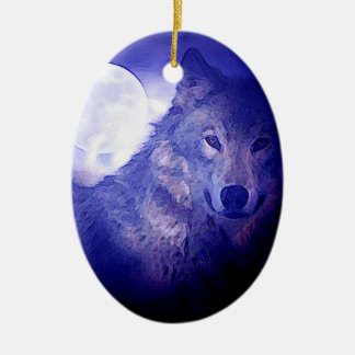 Wolf, Moon & Blue Night Double-Sided Oval Ceramic Christmas Ornament