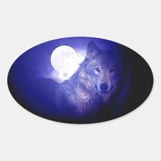 Wolf, Moon & Blue Night Oval Sticker