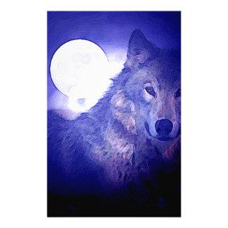 Wolf, Moon & Blue Night Personalized Stationery