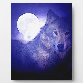 Wolf, Moon & Blue Night Plaques
